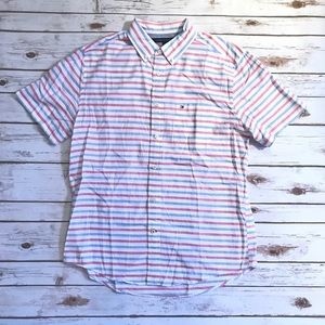 TOMMY HILFIGER SHORT SLEEVE STRIPED BUTTON DOWN
